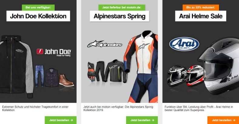 Motorradhelm und Motorradkleidung kauft man bei motoin