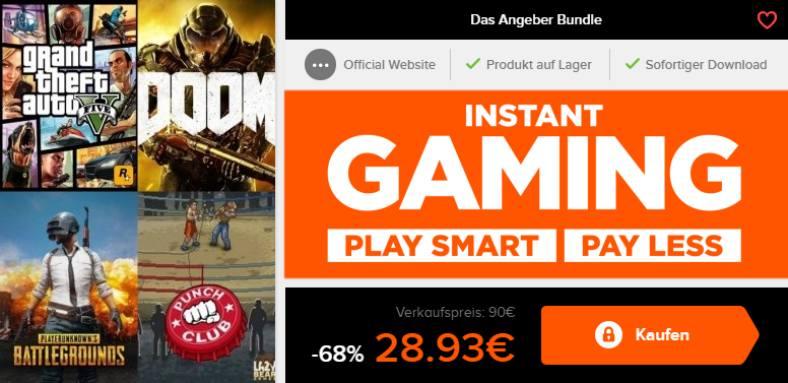 Instant Gaming und 68% sparen