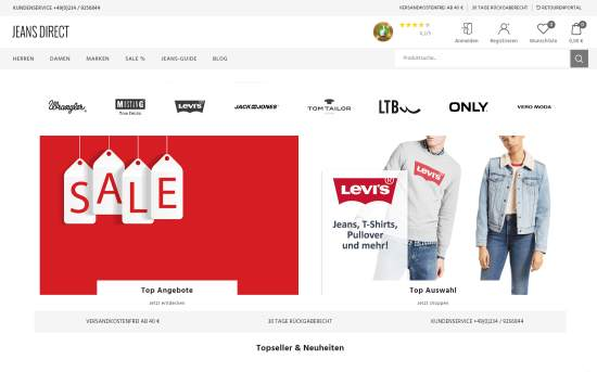 Günstige Jeans im Jeans Direct Online-Shop