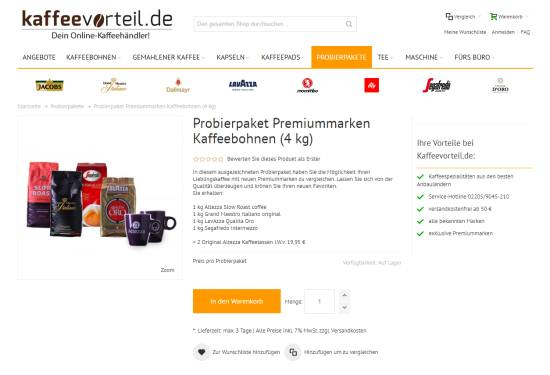 Kaffeevorteil Probierpaket + Geschenk