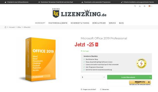 Office 2019 im Lizenzking Onlineshop