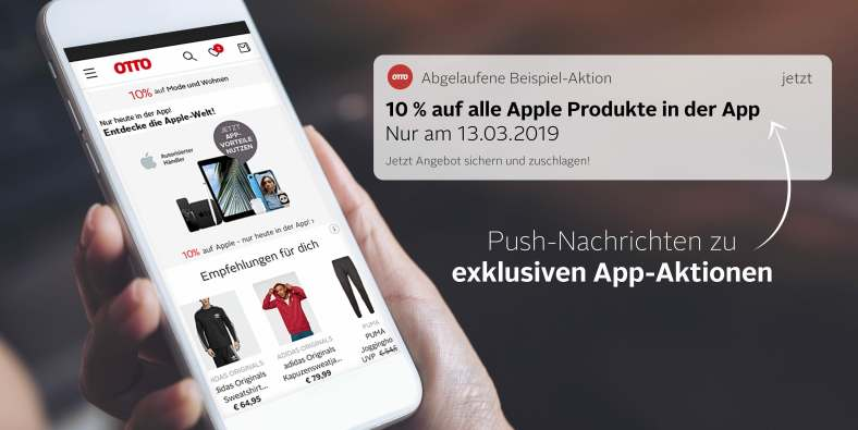 Gutscheine per Push Notification in der OTTO App