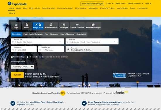 Expedia Gutschein im Online-Reiseportal